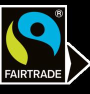 Fairtrade-Siegel mit Pfeil für Mischprodukte und/oder Mengenausgleich